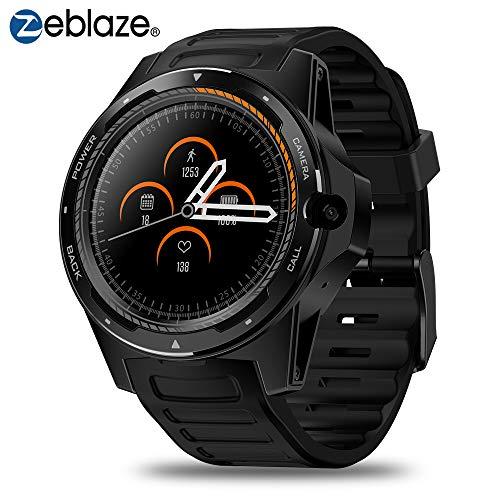 Nuevo Zeblaze SmartWatch 4G LTE Smart Watch Cámara Frontal de 8.0MP 2GB +16 GB Sistema Dual híbrido GPS/GLONASS/Beidou Sports Watch Compatible con Android e iOS - Thor 5 (Negro)