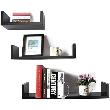 DecorNation U-Shaped Floating Wall Shelf, Set of 3 (Black)