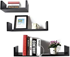 DecorNation U-Shaped Floating Wall Shelf, Set of 3 (Black)