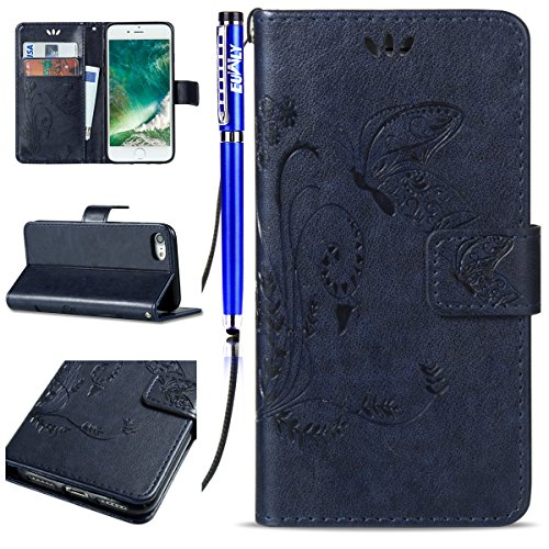 EUWLY Custodia Cover per iPhone 7/iPhone 8 (4.7), EUWLY Luxury Puro Colore Cover Case in PU Leather per [iPhone 7/iPhone 8 (4.7)] Modello Goffratura Fiore Farfalla Design Bumper Portafoglio Custodia Butterfly,Blu Scuro