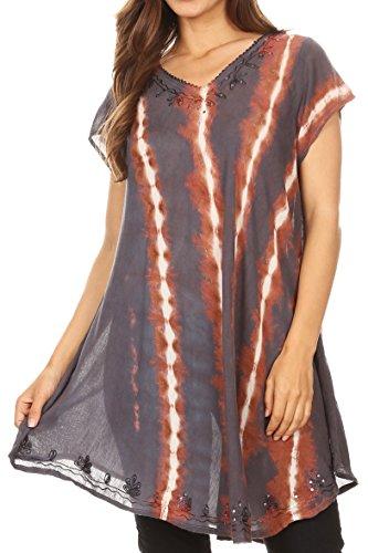 Top Drapiert Arm (Sakkas 18702 - Maite Womens Tie Dye V-Ausschnitt Tunika Top Ethnische Sommer Style Flowy w/Pailletten - Steel Blue - OS)