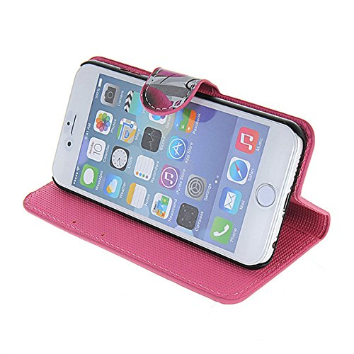 iPhone 6 Schutzhülle Hülle,COOLKE [001] Folio Ledertasche für Apple iPhone 6 PU Leder Tasche Brieftasche Case Cover 003