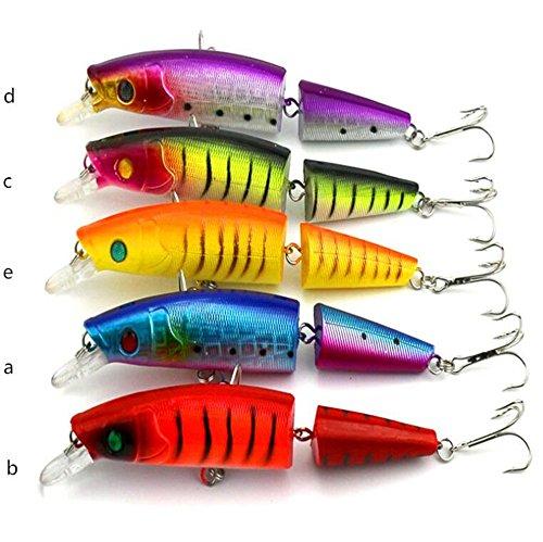 veapup 5PCS Zwei Abschnitte Fisch Fake Fisch Köder 14cm/20.2g Bionic Angelköder Angelköder Montage Köder Zubehör Kunststoff Angeln Köder (Set) - Big Rig Spinner