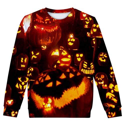 n Frauen Langarm 3D-Druck Halloween Sweatshirt Rundhals Herbst Winter Warm Bluse Oberteile Freizeit Langarmshirt Große Größen ()