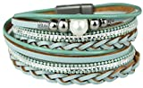 Mevina Damen Armband Perle Perlenarmband geflochten Glitzer Pailletten Wickelarmband Magnetverschluss Luxus Premium Hellblau A1343