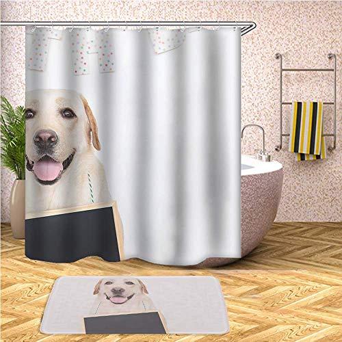 GIRLSIGHT Duschvorhang, Safari-Motiv, wasserfest, Polyester, 70 x 79 cm, mit Haken und Anti-Rutsch, 40 x 60 cm, Badematte 127.Labrador Retriever sitzt auf dem Boden. (Labrador-retriever-badezimmer Sets)