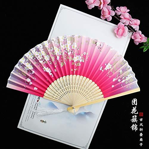 LUOSHUI Fan Faltfan Chinesischen Wind Antiquität Frauen Sommer klappen Alten chinesischen Kleid Antique fringten Bambus Fan 22 Cluster Brocade (Brocade-kleid-frauen)