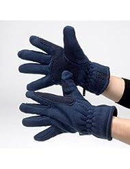 Hy–Guantes de forro polar, color negro, color azul marino, tamaño large