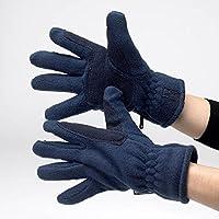 Hy–Guantes de forro polar, color negro, color azul marino, tamaño small