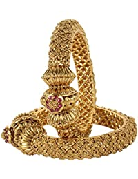 MUCH MORE Fabulous Gold Tone Polki Bangles Traditional Partywear Jewelry
