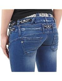 Coole Damen Jeans von Cipo & Baxx mit dreifachem Bund blau