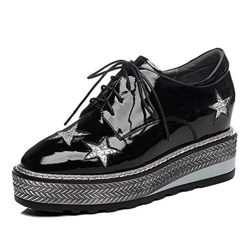 KJJDE Plateauschuhe Damen Creepers Schuhe WSXY-A0624 Keilabsatz Pentagramm-Muster, Black, 37