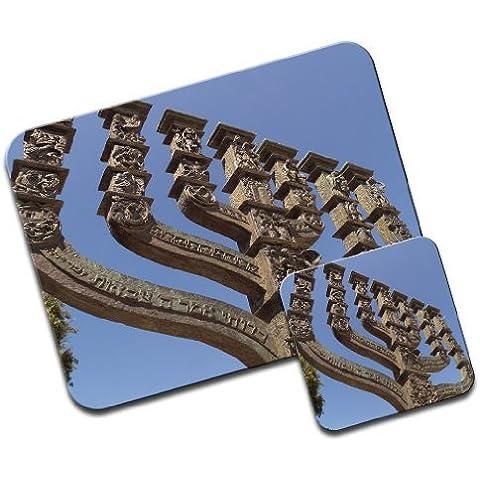 Carcasa de candelabro Koresset, Jerusalén Premium de alfombrilla de ratón y juego de posavasos de