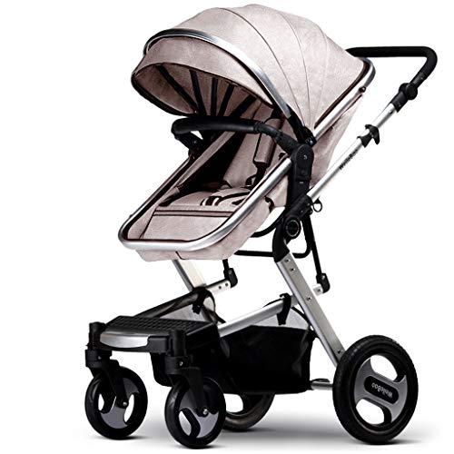 Byx- Hohe Landschaft Kinderwagen können sitzen Vier Rad Stoßdämpfer Falten Zwei-Wege-Baby Kind Kinderwagen leichte Travel System Auto @ (Farbe : Beige) -