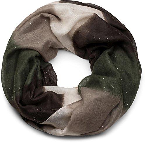 styleBREAKER Glitzer Loop Schal mit Streifen Farbverlauf Muster, Schlauchschal, Tuch, Glitzerschal, Damen 01017048, Farbe:Dunkelbraun-Grün-Beige