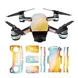 Hzjundasi Sunscreen Envolver Cuerpo+3*Batería+Brazo+Remoto Controlador Vistoso Pegatina Calcomanía Piel Set para DJI Spark Drone Modelo YE05