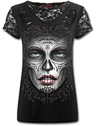 Camiseta Top Chica SPIRAL Death Mask Manga Corta Catrina -DS135361- Rock, Gothic