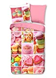 Aminata Kids - Kinder-Bettwäsche-Set 135-x-200 cm Donut-s-Motiv Cupcake-s Sweets 100-% Baumwolle Renforce rosa bunt-e backen Piping Formen Dekoration rosa pink Süßigkeiten