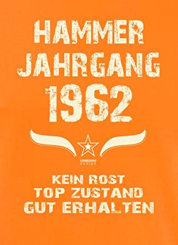Geschenk zum 55. Geburtstag :-: Geschenkidee Herren Geburtstags T-Shirt mit Jahreszahl :-: Hammer Jahrgang 1962 :-: Geburtstagsgeschenk für Männer :-: Farbe: orange Orange