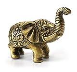 Deko Figur indischer Baby Elefant Figur aus Messing mit Gravur, Länge 7 cm groß, Statue reich verziert Krafttier orientalisch Indien Afrika