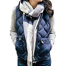 Chaquetas de pluma para Mujeres sin mangas bolsillos chaleco de algodón sólido encapuchados invierno Chaleco suelto