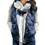 Kinlene Damen Leichte Sleeveless Stretchy Drawstring Jacke Pocket Weste mit Reißverschluss