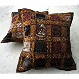 Amazing India 2 Brown Embroidery Sequin Patchwork Indian Sari Throw Pillow Cushion Covers