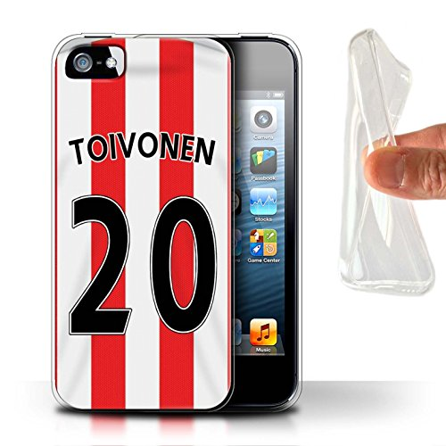 Offiziell Sunderland AFC Hülle / Gel TPU Case für Apple iPhone 5/5S / Pack 24pcs Muster / SAFC Trikot Home 15/16 Kollektion Toivonen
