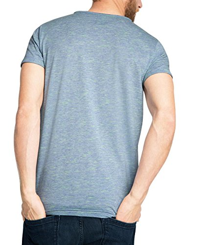 ESPRIT Herren T-Shirt 056ee2k011-Henley Meliert-Slim Fit Blau (LIGHT BLUE 440)