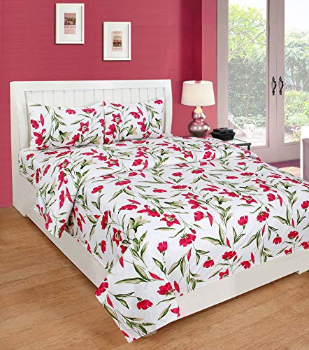 02c8f53b55a Multitex Cotton Combo of 5D Double Bedsheets with 2 Pillow Covers  (Multicolour)