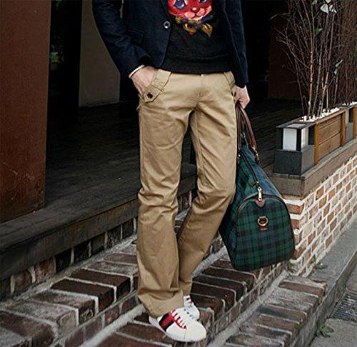WSLCN Homme Business Chino Coton Pantalon Droit Casual Pants (SANS CEINTURE) Beige