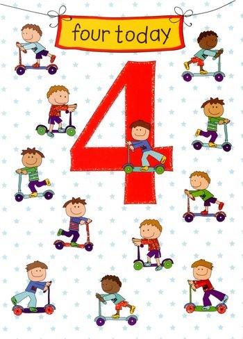Vier Heute, Cute 4. Geburtstag Karte mit Roller