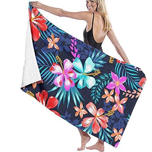 Zome Lag Strandtücher Sandfrei Leichte Strandtücher, Tropische Bunte Blumen, Palmenblätter, hochsaugfähige Waschlappen für Jungen, Mädchen, Kinder, Erwachsene, Gäste, Feuchtigkeite Wicking 80X130CM -