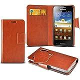 (Brown) Samsung I8700 Omnia 7 Schutzhülle Mega Dünn Faux Leder Saugnapf Tasche Case Cover hülle mit Kredit- /Debitkarte Steckplätze Aventus