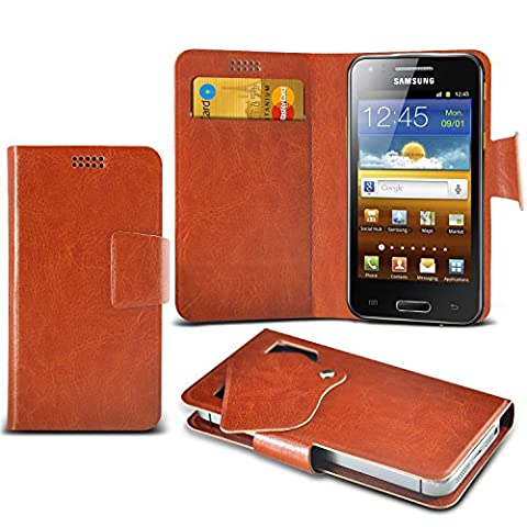 (Brown) Samsung I8700 Omnia 7 Schutzhülle Mega Dünn Faux Leder Saugnapf Tasche Case Cover hülle mit Kredit- /Debitkarte Steckplätze