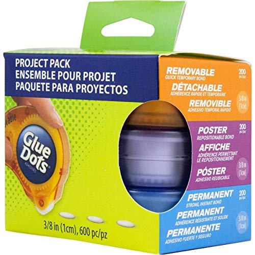 Glue Dots Doppelseitige Klebepunkte, Dot 'n Go Project Pack, 3 Verschiedene Kleberoller, 600 Punkte, Permanent, Poster und Ablösbar, 10 mm, Vielseitige Verwendung für Schul- und Bastelprojekte (Power-strip-pack)