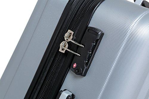 TSA-Schloß 2080 Hangepäck Zwillingsrollen neu Reisekoffer Koffer Trolley Hartschale XL-L-M(Boardcase) in 12 Farben (Silber, M) - 3