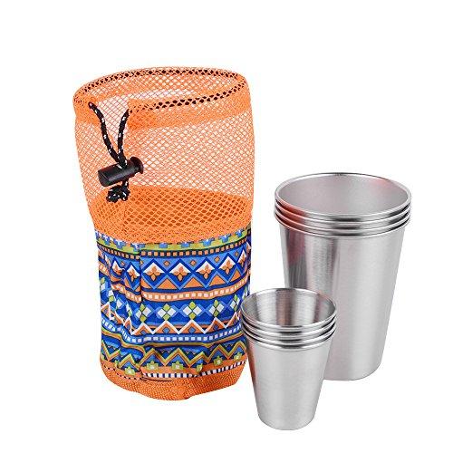 Denshine Taza Camping de Acero Inoxidable Vasos Copas de Metal Juego de 8 Vasos al Aire Libre para Viaje Coche