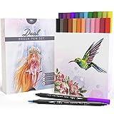 MozArt Supplies Pinselstift - Set mit Zwei Spitzen - 24 Farben - Langlebig, Wasserfarben - Effekt, Aquarell Brush Pen - Ideal für Malbücher, Manga, Comic, Kalligrafie