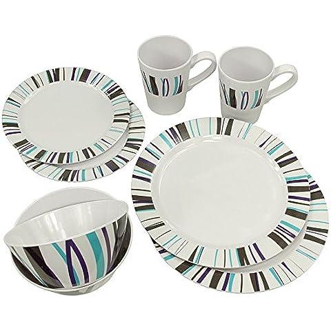 10T Arve Dinnerware - vajillas de melamina, 8 piezas, 2 tazas, 4 placas en 2 tamaños, 2 cuencos