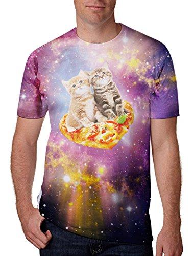 Niedlichen Katzen Gedruckt Kurze Ärmel Runde Kragen T-Shirts T-Shirts XL (Nase Katze)