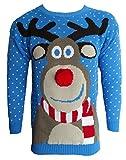 Blush Avenue Herren Damen 3D Rudolph Rentier Elfen Weihnachten Neuheit Pullover Stricktop - blau Pom Pom Nase, S