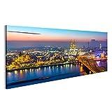 islandburner Bild Bilder auf Leinwand Köln in der Abenddämmerung Wandbild, Poster, Leinwandbild NAG