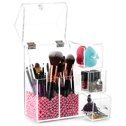 Brush Holder, HBF Clear Acrylic Make Up Brush Holder with Free Pink Pearls