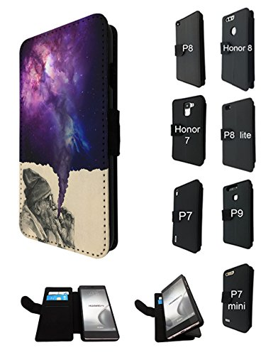 003032 - Old Hobo Smoking Weed Tornado Galaxy Design Huawei P9 lite mini 5