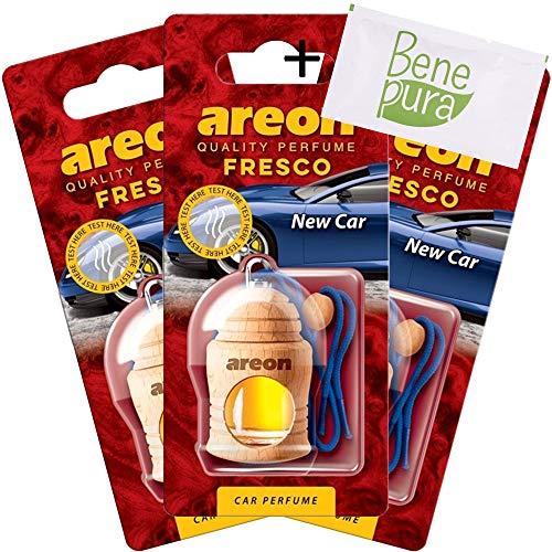 AREON auto deodorante profumo fresco 4ml-New Car Scent-appeso bottiglia diffusore con copertura in legno naturale, a lunga durata, set di 3