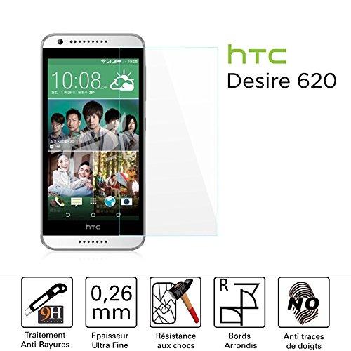 TM-Bildschirmschutzfolie/Schutzglas für Bildschirm-HTC Desire 620/620g Dual Sim-Hartglas HQ Ultra widerstandsfähig (gegen/Kleinschreibung und Kratzer)-Ultra Slim (0,26) mit abger&ete Kanten-Schutz & ein Komfort Bedienkomfort