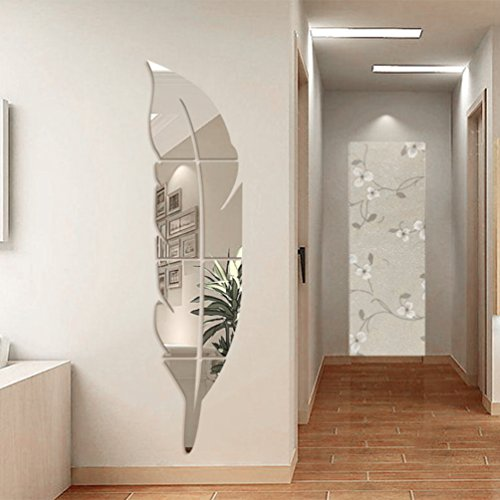 YNuth 18*80CM Stickers Miroir Effet Plume Design Pour Salon Chambre Salle  De Bain Décoration Murale Accessoire