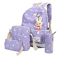 DEELIN Clearance Sale Rabbit Cute Preppy Style College Students Girls Travel Bookbag Backpack Sets Schoolbags Bag+Shoulder Bag+Handbag+Pencil case Four-Piece Fitted(4 PCS) (Purple)