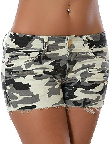 Damen Camouflage Sommer Shorts Hot-Pants Kurze Hose (weitere Farben) No 15534 Weiß